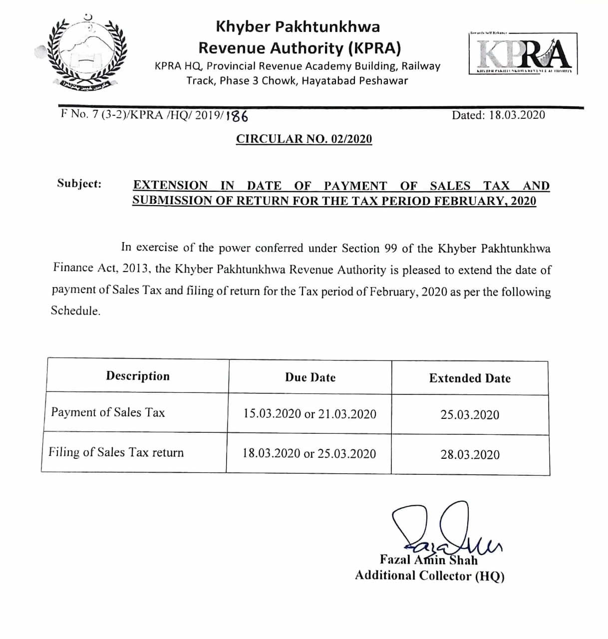 Extension in Date of Payment of Sales Tax and Submission of Return for the Tax Period February, 2020