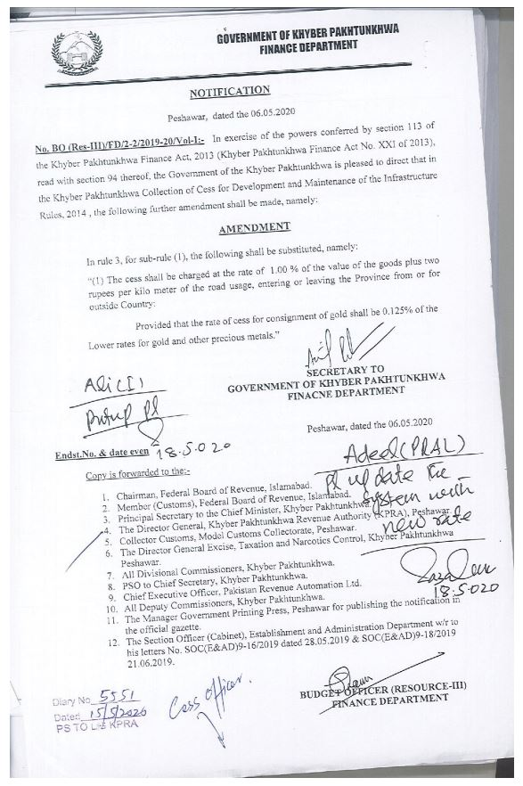 Amendment in Khyber Pakhtunkhwa Collection of Cess for development and maintenance of the infrastructure Rules, 2014